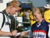 Fierljeppen: interview Anna-Jet Leyenaar en Gerard Bos, sportjournalist Friesch Dagblad