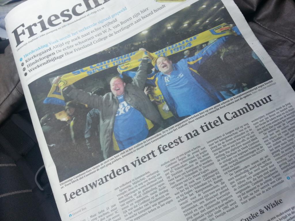 Friesch Dagblad sport - Cambuur kampioen 2013 Gerard Bos en Daan Rieken 1